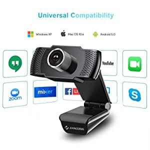 La cámara web de 1080p tiene compatibilidad universal.  Camara web 1080P HD con micrófono, cámara web de computadora USB para computadora portátil, reducción de ruido, visión de ángulo amplio de 105 ° para streaming, confrencia de zoom, juegos, YouTube Skype FaceTime. (Negro) a7f8dcbb 91f7 403b b28e be397f5c599d