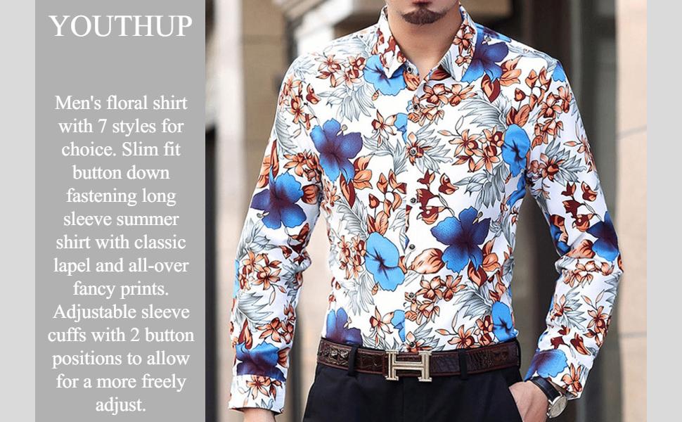 Hawaiian Shirts for Men Button Down Long Sleeve Shirt Beach Style Floral Aloha Shirt,14 Styles