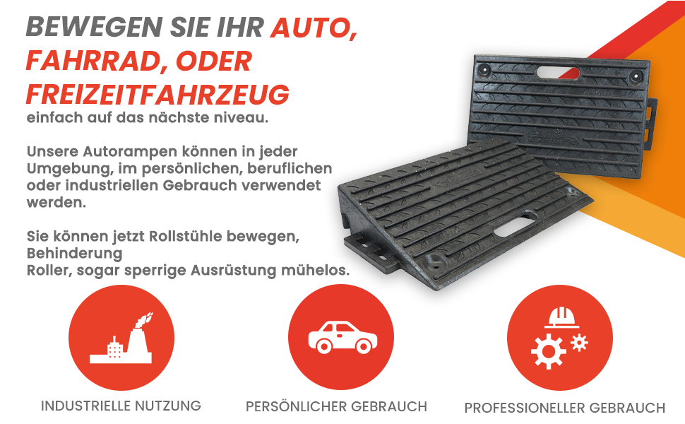 1 St/ück Schwarz 25 /× 27 /× 11 cm Juhuitong Auto Bordsteinrampe Tragbare Hochleistungs-Kunststoff Auffahrkeile f/ür Auffahrt Auto Fahrrad Motorrad Roller Rollstuhl