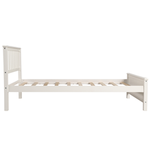 twin size bed frame  Harper&Bright Designs Wood Platform Bed with Headboard, Footboard, Wood Slat Support, No Box Spring Needed(Twin, White) a7fd6ad2 7cff 4d2b ad0f 06f9daca4d79