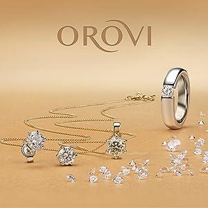 solitario di brillante anello fascia anellino d'oro orecchini toppa buchi boccole brillanti argento