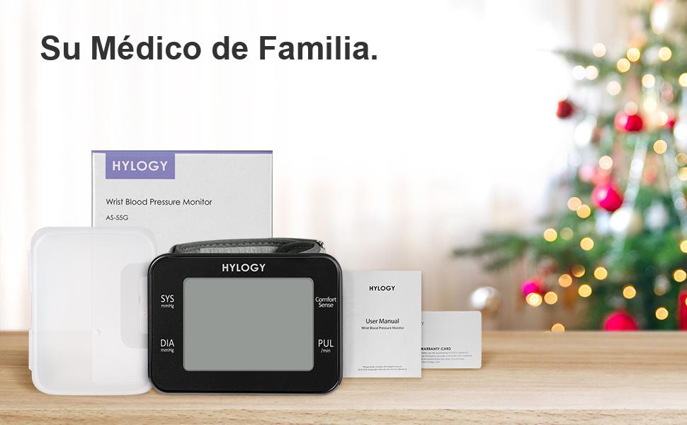 Tensiómetro de Muñeca, HYLOGY Monitor de Presión Digital Portátil Ultraplano con Anuncio de Voz, Gran Pantalla LCD con Memoria 2 * 90 Para 2 Usuarios, ...