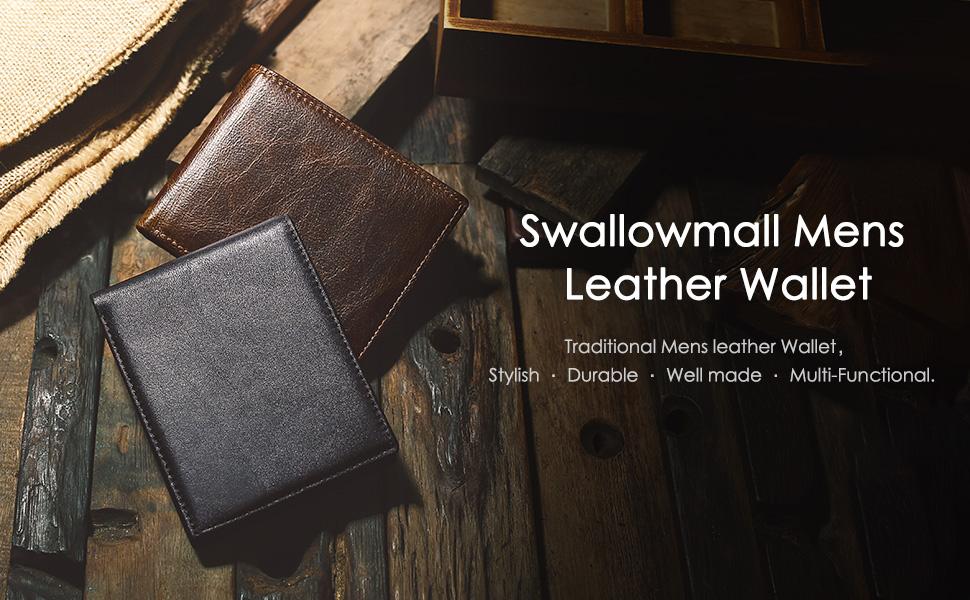 mens leather wallet bifold rfid wallet for men