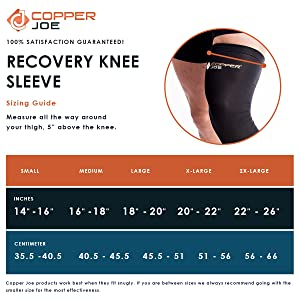 Copper Joe compression recovery knee sleeve for men and women , small medium large x large 2x large