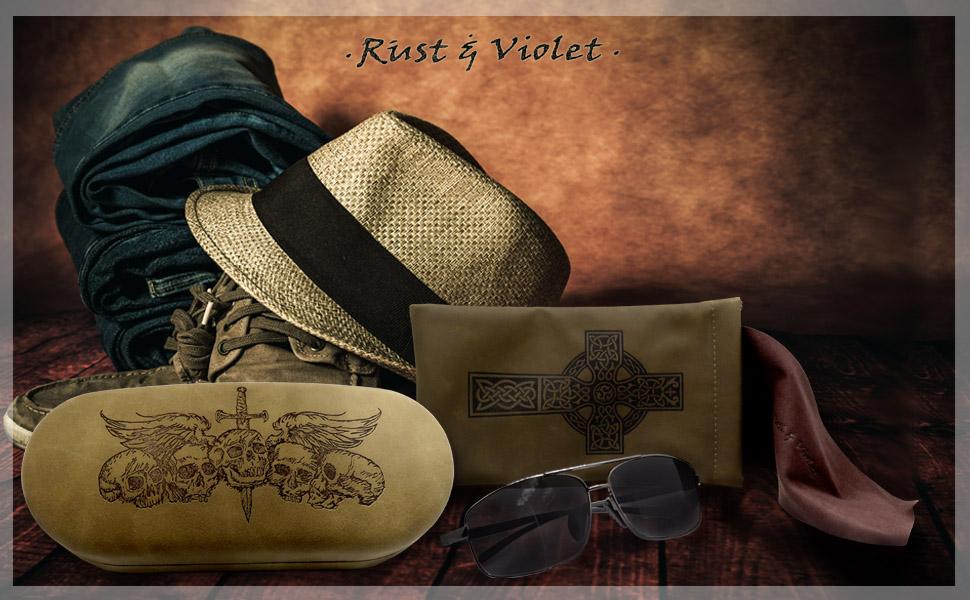 AS87 hard sunglasses case large eyeglass case tie dye peonies poppy black brown skulls teal case