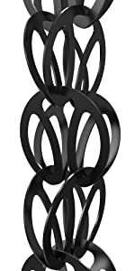 modern loop rain chain black