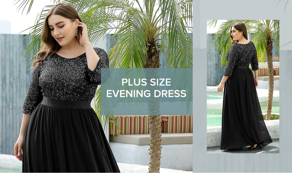 Ever-Pretty Womens plus size formal dresses for evening party plus size sequin dress summer dresses