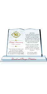 Personalized Bible Shaped Crystal 50th Wedding Plaque for Parents