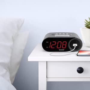 Sharp alarm clock bedroom clock kids teens tweens fast charge
