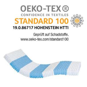 Nach Oeko Tex Standard 100 auf Schadstoffe geprüft