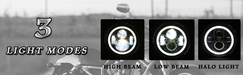 DOT 7 Inch Halo LED Headlight with White Halo for Electra Glide Street  Glide Fat Boy Road King Heritage Softail Switchback Headlamp Black
