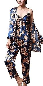 Satin Pajamas Set 3 Pcs