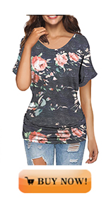 MODARANI Dolman Tops with Side Shirring for Women Casual Drape Tunics Short Sleeve Comfy
