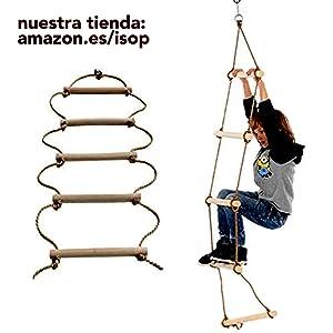 ISOP Accesorios al Aire Libre - Escalera de Cuerda de Escalada para niños | Equipo de Juego de Escalera de árbol | Escalera de Madera con mosquetones