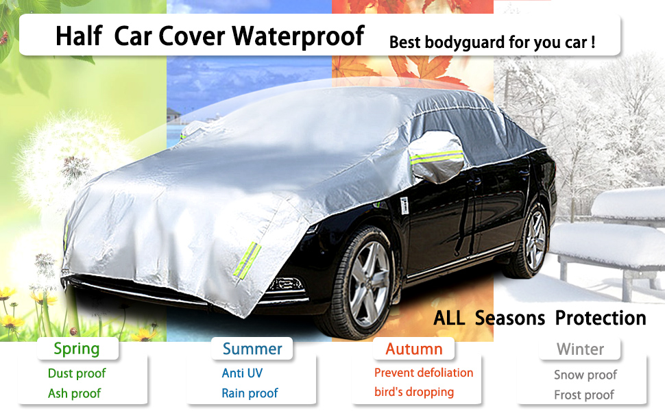 Fit MPV//SUV Length 185 to 195 Konnfeir Half Car Cover All Weather Car Body Covers Outdoor Indoor for All Season Waterproof Windproof Dustproof UV Resistant Snowproof Universal Car Half Cover