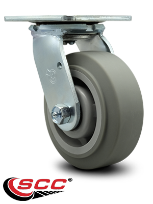 Service Caster Brand Thermoplastic Rubber Flat Tread Swivel Top Plate Caster Set of 4 w//8 x 2 Gray Wheels 2400 lbs Total Capacity Includes 2 Swivel with Brakes /& 2 Rigid