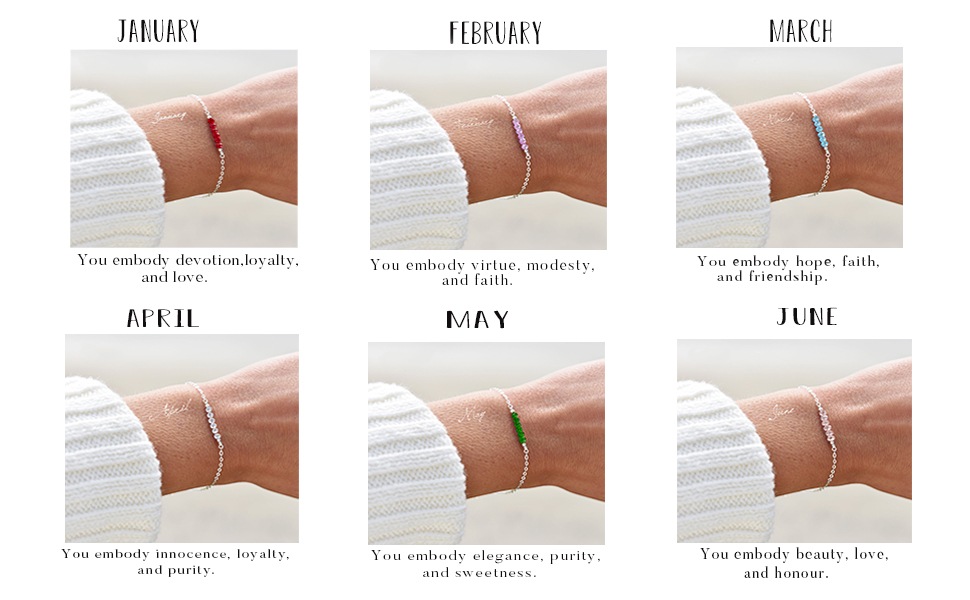 925 Sterling Silver 12 Month Created Crystal Birthstone Bracelets