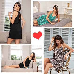 Ekouaer Nightgown Women Sleeveless Sleepwear Sexy Nightdress