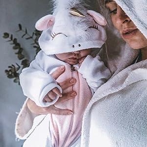 0-24 Mesi Carolilly Pagliaccetto Neonati Unicorno Animale Pigiama Intero Neonata Bimba Combinazione Maniche Lunghe Abiti Sfiati Caldi