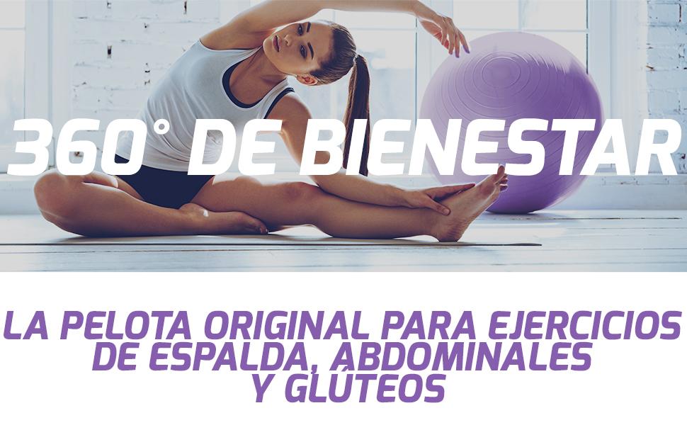 TRESKO® Pelota de Gimnasia Anti-Reventones | Bola de Yoga Pilates y Ejercicio | Balón para Sentarse | Balon de Ejercicio para Fitness | 300 kg | con ...