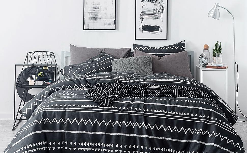 Amazon.com: SUSYBAO 3 Pieces Duvet Cover Set 100% Cotton Queen