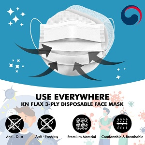 KN FLAX White 50 Packaged with 2 Clips Premium Face Safety Dust Mask for Adult, KF-AD approved