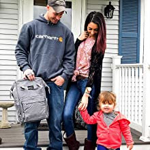 Diaper bag for mom, dad, baby