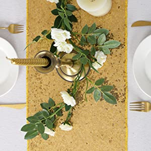 gold table linens