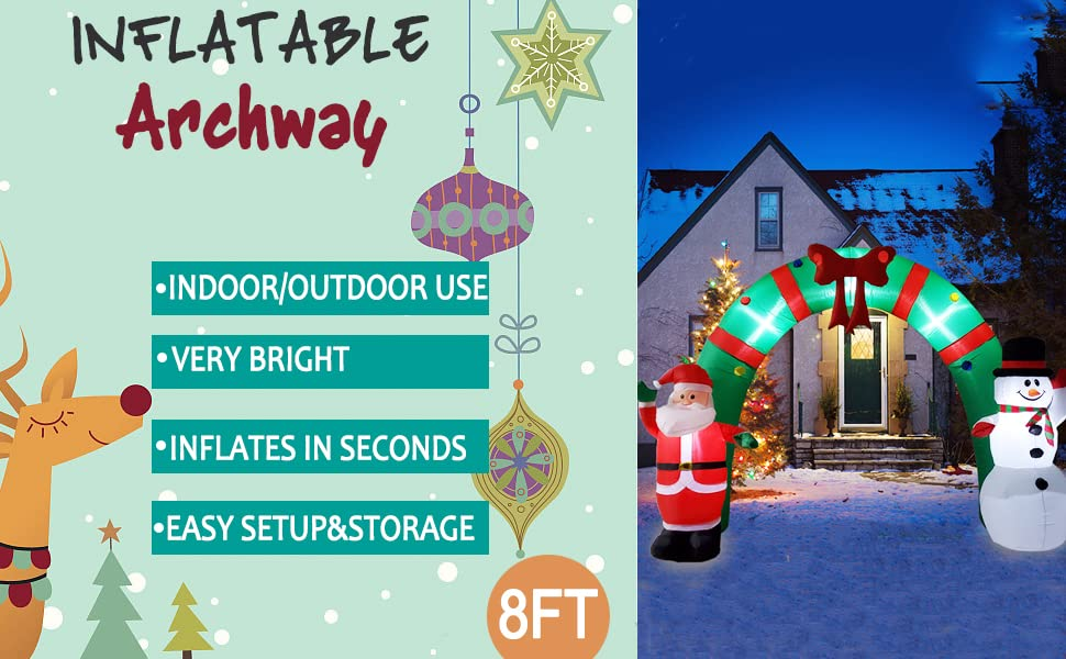 Poptrend Inflatable Christmas Decorations 8 Foot Inflatable Christmas Arch Wacky Funny Colorful,Festive Holiday Spirit Christmas /& X/'mas Yard Inflatables with Bright LED Christmas Lights