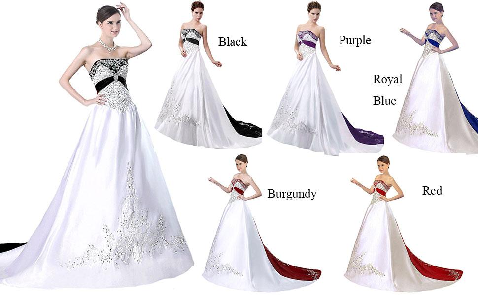 emboridery wedding dresses with chapel train