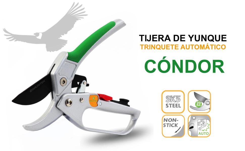 GRÜNTEK Tijera Recoletora de podar Yunque con Trinquete. Cortarramas Profesional CÓNDOR 20cm: Amazon.es: Jardín