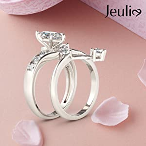Jeulia 3 Crat Marquise Cut sterling silver ring set wedding band rings anniversary engagementt