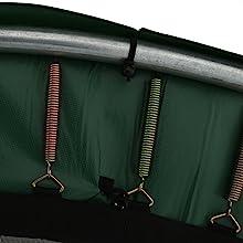 Trampolineveren op het zilveren frame en op het springdoek opgehangen onder de groene randafdekking.