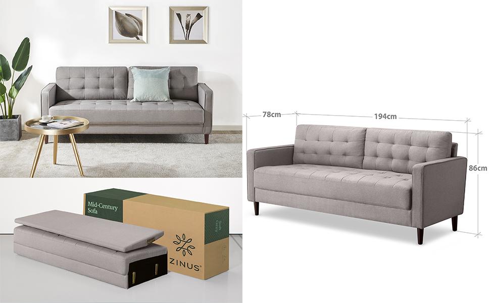 Zinus Mid Century 3 Seater Sofa Loveseat Sofa