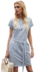 Women Striped Tie Front Dress