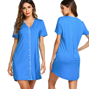 Ekouaer Sleepwear Women's Night Shirt Short Sleeve Casual Sleepshirt Button Down Nightgown