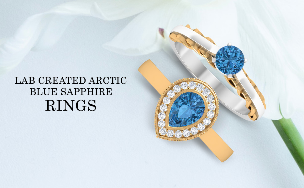 banner Lab Created Arctic Blue Sapphire Rings