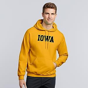 UGP Campus Apparel NCAA Basic Block Hooded Sweatshirt Iowa Hawkeyes Gold