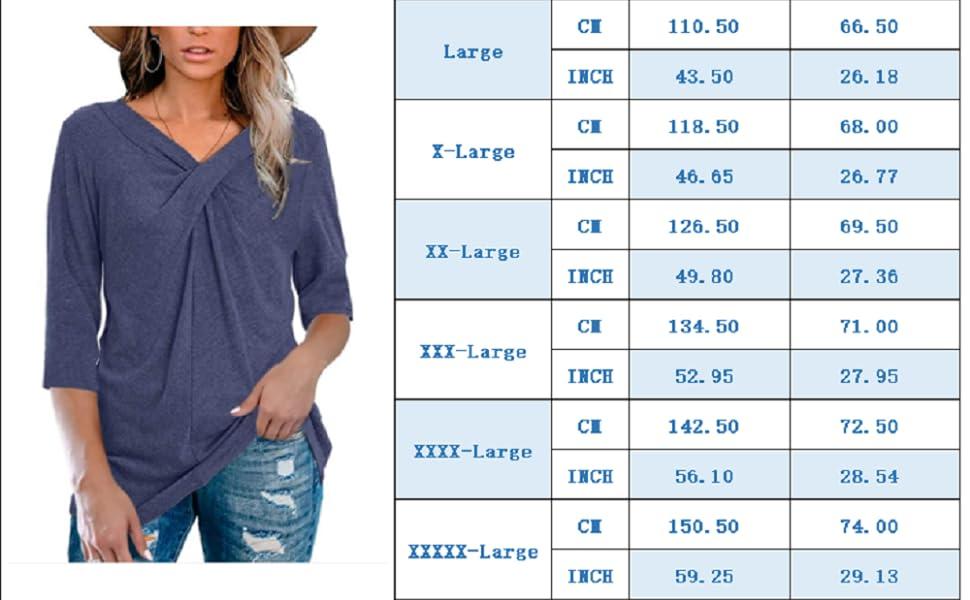 Womens 3/4 Sleeve V Neck T Shirt Plus Size