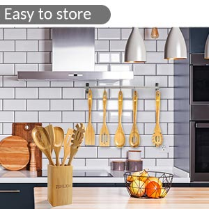 bamboo kitchen cooking utensils set with holder easy to store