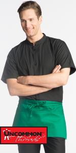 two pocket three pocket waist apron waste apron server cocktail waitress waiter hunter green tie