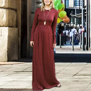 high waist long maxi dresses solid color