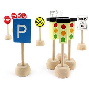 attatoy wooden traffic street signs set play train car children creative