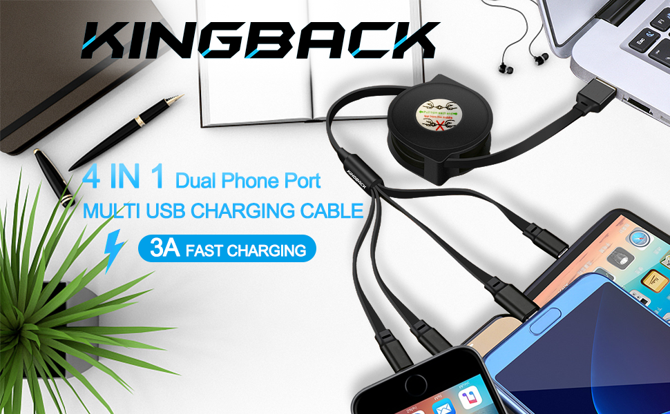 3 in 1 Retractable USB Charging Cable Horse Fast Charging Reusable USB Charge Cord Compatible with Cell Phones Tablets Universal Use