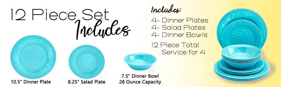 Set Setting Service Plate Plates Bowls Includes Dinner Appetizer Dessert Salad Soup Cereal Fruit