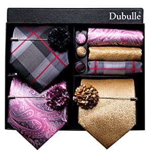 stripe paisley tie set