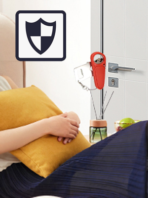 A woman was sleeping peacefully on the sofa with the door tightly closed.