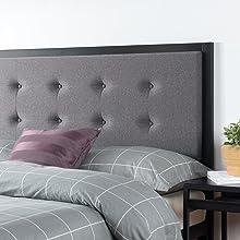 Zinus Barbara Headboard Fabric Bed Head Metal Frame
