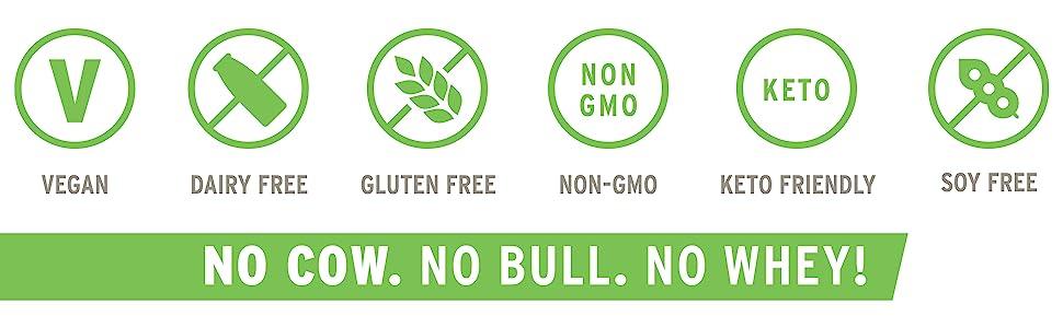 Vegan Dairy Free Gluten Free Non GMO Project Verified Keto Friendly Soy Free
