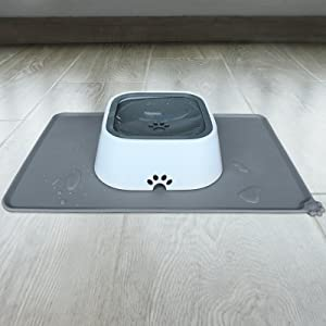 cat feed mat with cat water bowls